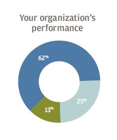Your organization's performance 62% optimistic, 13% neutral, 25% pessimistic